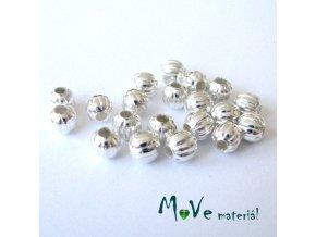 Korálek kovový vroubkovaný 5mm/20ks, stříbrný