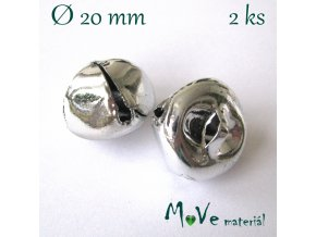 Rolničky stříbrné 20mm, 2ks