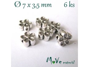 Korálek kovový kytička 7x3,5mm/6ks, starostříbro