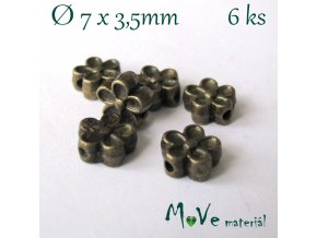 Korálek kovový kytička 7x3,5mm/6ks, staromosaz