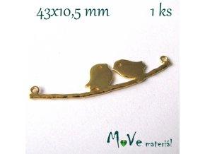 Mezikus PTÁČCI 43x10,5mm, 1ks, zlatý