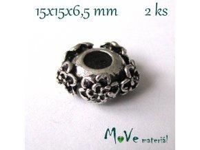 Korálek kovový zdobený květy, 1kus, starostříbro