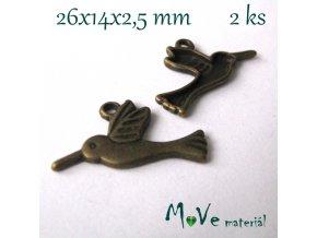 Přívěsek LEDŇÁČEK 26x14x2,5mm, 2ks, stamosaz