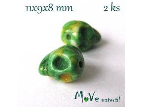 Lebka barvený howlit 11x9x8mm, 2ks, zelené žíhaní