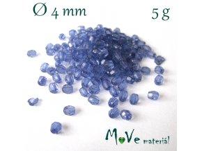 Korálek plast - broušený 4mm, cca 150ks, tm. modrý