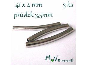 Korálek kovový 41x4mm trubička, 3ks