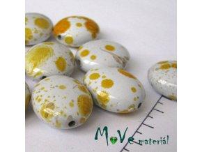 Plastový korálek Dalmatin oválek 20x25 mm 3ks