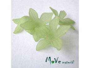 Akrylový květ 27x7mm, 4ks, zelený