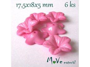 Akrylový květ 18mm - lesklý, 6ks, sv. růžový