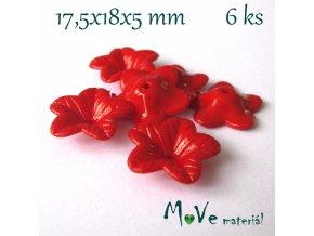 Akrylový květ 18mm - lesklý, 6ks, červený