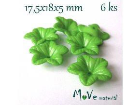 Akrylový květ 18mm - lesklý, 6ks, zelený