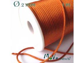 Šňůra 2mm saténová, oranžová, 1m