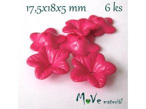 Akrylový květ 18mm - lesklý, 6ks, tm. růžový
