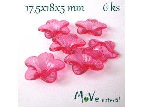 Akrylový květ 18mm, 6ks, tm. růžový