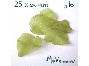 Akrylové matné lístečky, 5ks, olivové