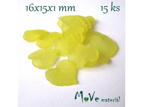 Akrylové transparentní lístečky, 15ks, žluté