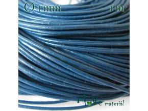 Kulatá přírodní kůže 1mm 1m, modrá