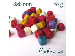 Dřevěný korálek kostka 8x8mm, 10g, mix