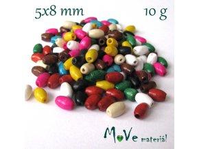 Dřevěný korálek olivka 5x8mm, 10g, mix II