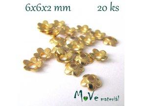 Kaplík 6x6x2mm kytička, 20ks, zlatá