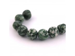 Korálky - přírodní kámen, 8mm/4ks, zelenobílý