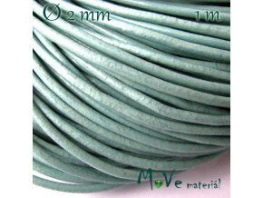 Kulatá přírodní kůže 2mm/1m, tyrkysová