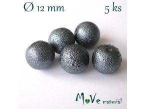"""Voskové perle """"Zigana"""" 12mm, 5ks, tm. šedá"""