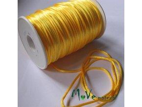 Šňůra 2mm saténová, žlutá,1m
