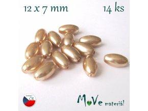 České voskové perle olivka 14ks, zlaté