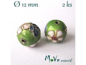 Korálky kovové CLOISONNE 12mm/2ks, zelené