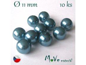 České voskové perle 11mm,10ks, tyrkysové