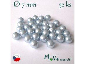 České voskové perle 7mm, 32 ks, šedomodré