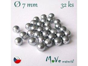 České voskové perle 7mm, 32 ks, šedé