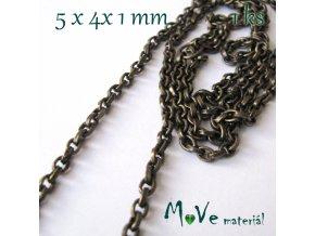Řetízek kovový šíře 5x4x1mm, staromosaz, 1ks