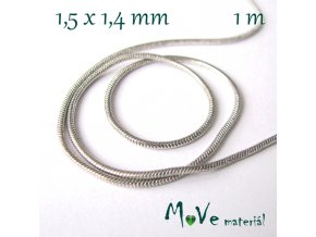Hadí řetízek 1,5x1,4mm, 1m, platina