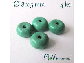 Korálky syntetický tyrkenit 8x5mm/4ks, tyrkysový