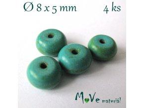 Korálky syntetický tyrkenit 8x5mm/4ks, tyrkysovozelený