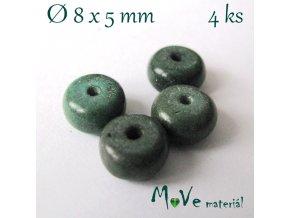 Korálky syntetický tyrkenit 8x5mm/4ks, zelený