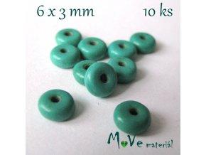 Korálky syntetický tyrkenit 6x3mm/10ks, tyrkysový I