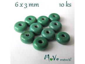Korálky syntetický tyrkenit 6x3mm/10ks, tyrkysový III