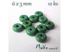 Korálky syntetický tyrkenit 6x3mm/10ks, tyrkysový IV