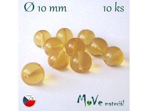 České skleněné kuličky 10mm/10ks, medové