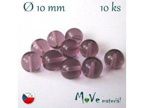České skleněné kuličky 10mm/10ks, fialové