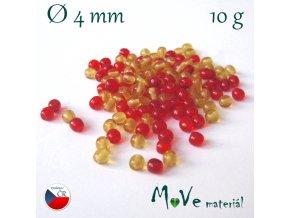 České skleněné kuličky 4mm/10g, mix(červeno-žlutá)