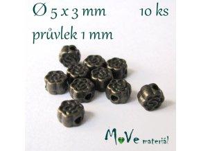 Korálek kovový kytička 5x3mm/10ks, staromosaz