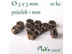 Korálek kovový kytička 5x3mm/10ks, staroměď