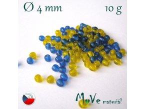 České skleněné kuličky 4mm/10g, mix(modro-žlutá)