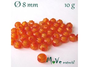 Korálek plast kulička 8mm/10g, pomerančový