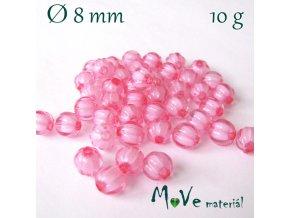 Korálek plast kulička 8mm/10g, sv. růžový