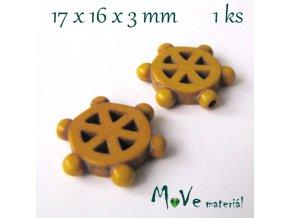 Kormidlo howlitové 17x16x3mm, 1ks, žluté